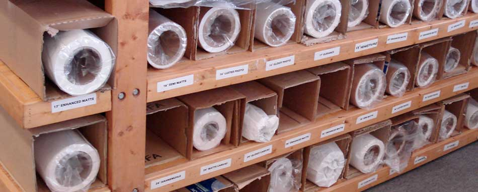 a sample view of our fine art paper inventory