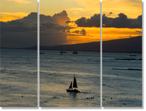 Example of triptych with photo split - Wick's sailing into sunset